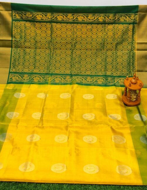 yellow and green uppada pattu saree-u8479