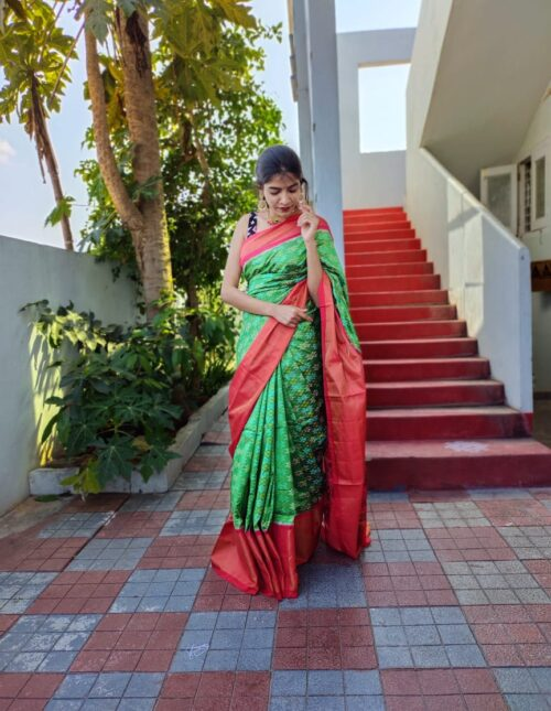 Double Weaving Ikkat saree green and red is-1681