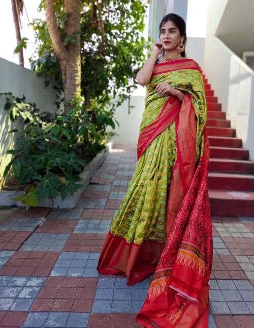 Double Weaving Ikkat saree light green and red is-1682