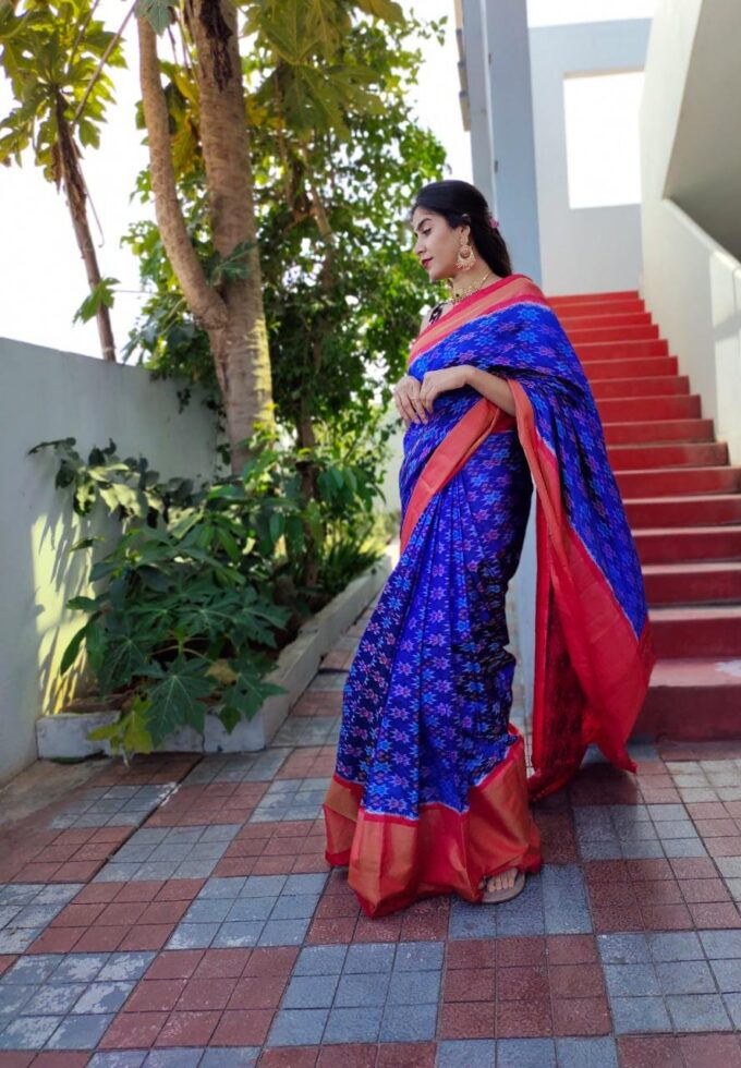 Double Weaving Ikkat saree blue and red is-1680
