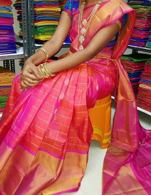 Kuppadam silk saree peach and pink ks-1196