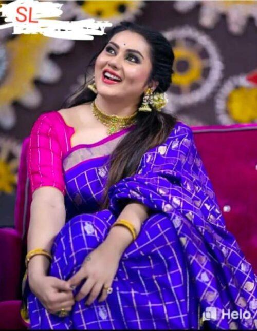 Kuppadam silk saree blue and pink ks-1192