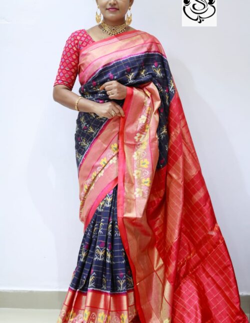 Ikkat Silk Saree blue and red is-1682