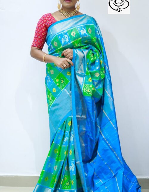 Ikkat Silk Saree blue and green is-1683
