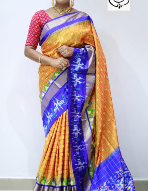 Ikkat Silk Saree yellow and blue is-1684