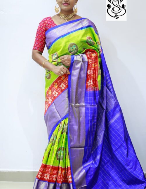 Ikkat Silk Saree Parrot Green and Blue is-1685