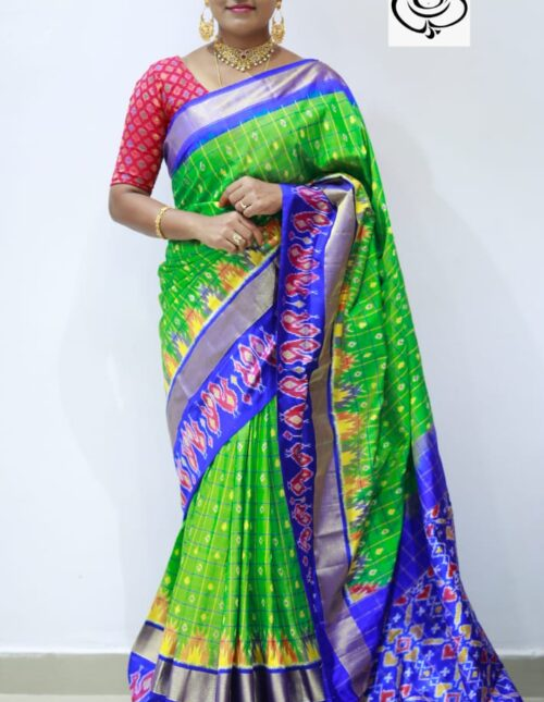 Ikkat Silk Saree Green and Blue is-1686