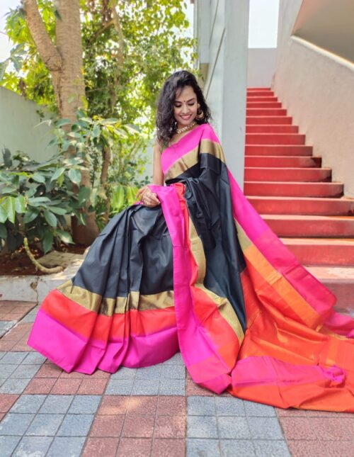 Ikkat Silk Saree black and pink is-1695