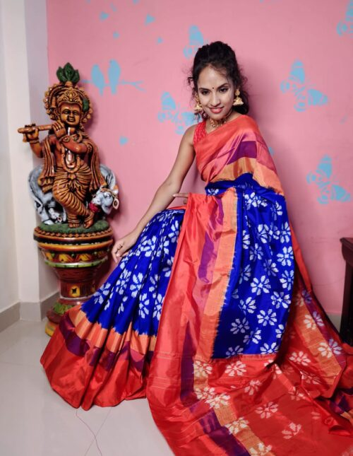 Ikkat Silk Saree blue and red is-1696