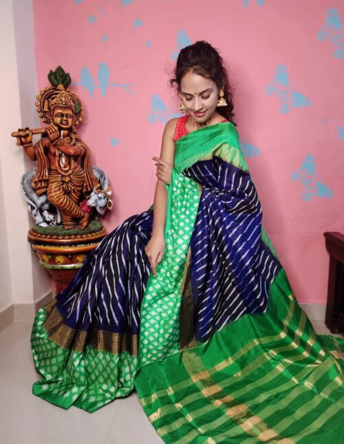 Ikkat Silk Saree blue and green is-1697
