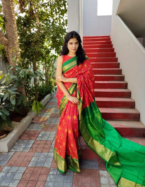 Ikkat Silk Saree/Pochampally Silk Saree green and red is-1697