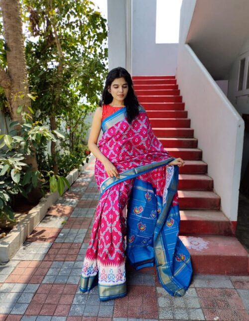 Ikkat Silk Saree/Pochampally Silk Saree pink and Poedered blue s-1701