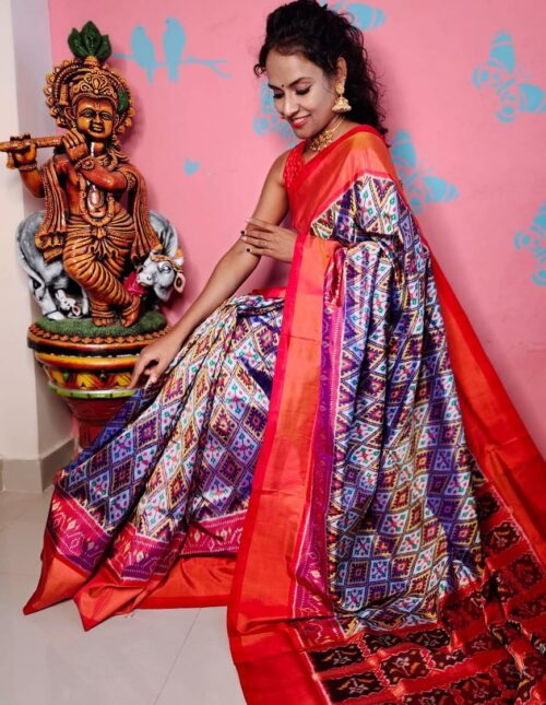Ikkat Silk Saree/Pochampally Silk Saree grey and red s-1702