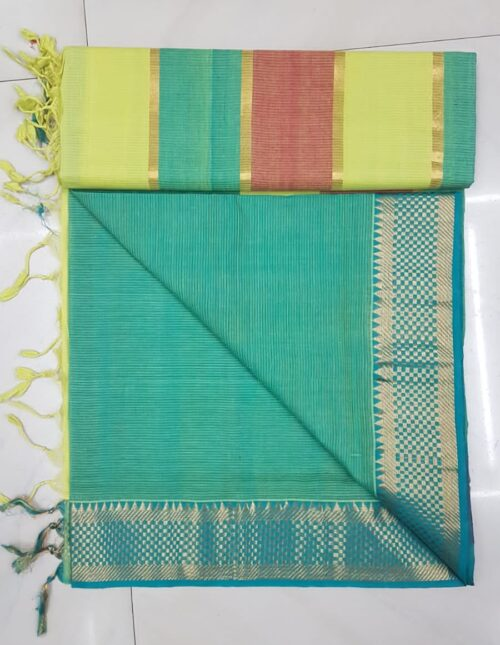 Mangalgiri Cotton Saree aqua green mc-1003