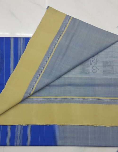 Mangalagiri Cotton Saree grey and blue mc-1007