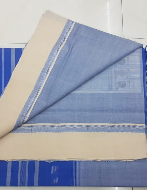 Mangalagiri Cotton Saree grey and blue mc-1008