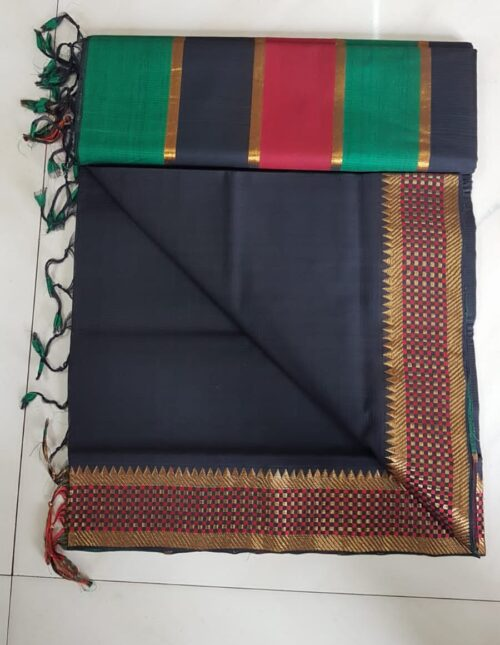 Mangalagiri Cotton Saree black mc-10112