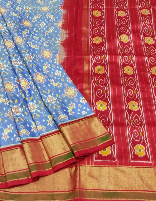 Ikkat Silk Saree/Pochampally Silk Saree light weight blue and red is-1709