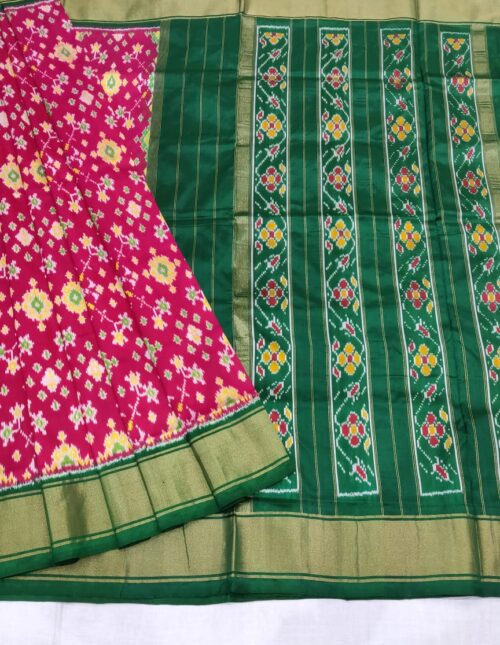 Ikkat Silk Saree/Pochampally Silk Saree light weight pink and green is-1710