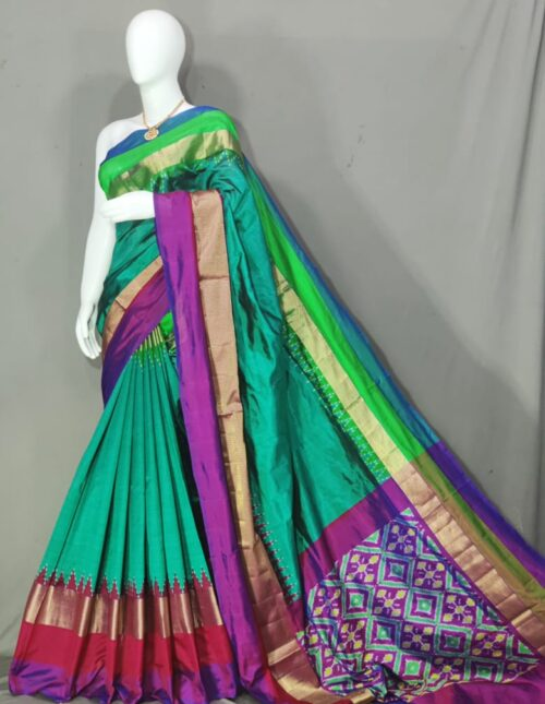 Ikkat Silk Saree/Pochampally Silk Saree Aqua Green and Purple is-1715