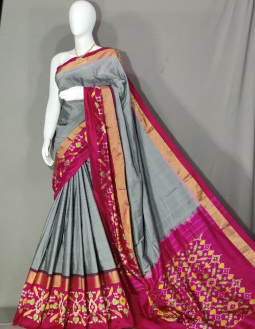 Ikkat Silk Saree/Pochampally Silk Saree Grey and Purple is-1718
