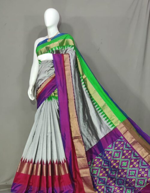 Ikkat Silk Saree/Pochampally Silk Saree Grey and Violet is-1719