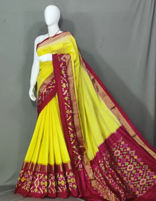 Ikkat Silk Saree/Pochampally Silk Saree Yellow and Meroon is-1720