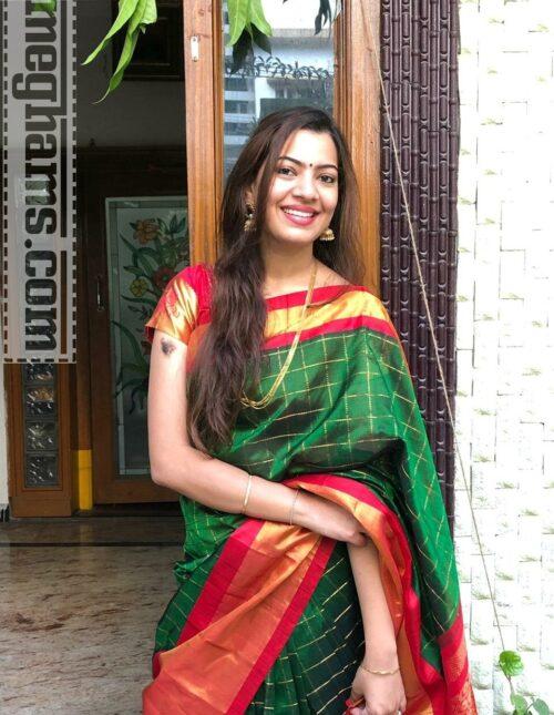 Kuppadam Pure Silk/Pattu saree Green and Red ms-1180