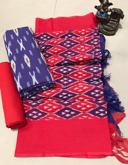 Ikkat Cotton Dress Material Blue and Red ic-201