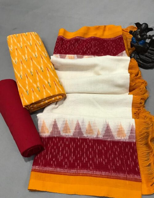 Ikkat Cotton Dress Material Meroon and Yellowic-202
