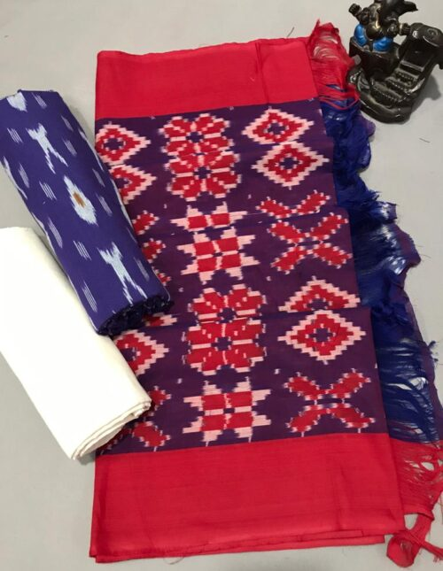 Ikkat Cotton Dress Material Red and Blue ic-203