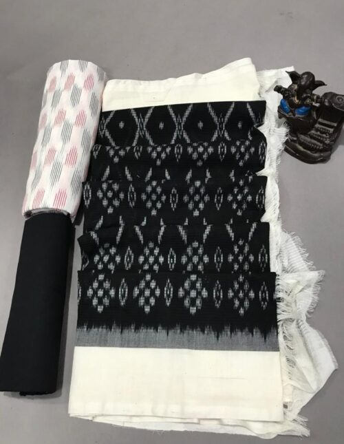 Ikkat Cotton Dress Material Black and White ic-204