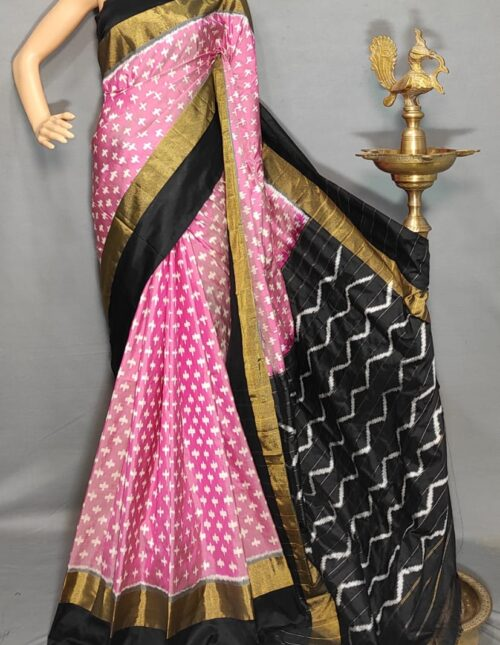 Ikkat/Pochampally Silk Saree Black and Pink is-1733