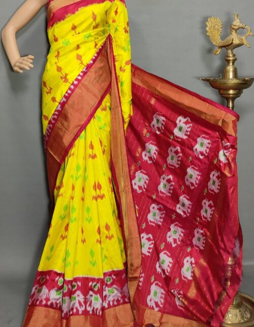 Ikkat/Pochampally Silk Saree Yellow and Red is-1734