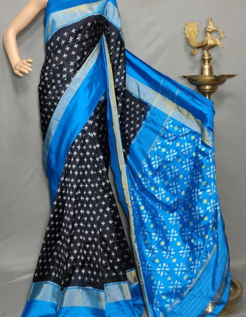 Ikkat/Pochampally Silk Saree Back and Blue is-1736