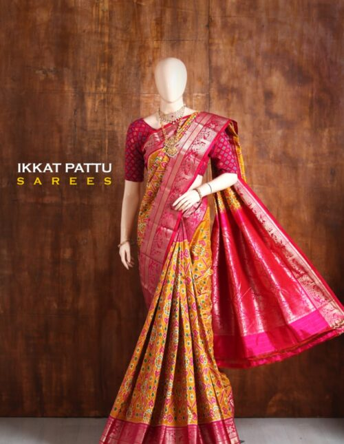 Ikkat/Pochampally Silk Saree With Kanchi Border Yellow and Pink is-1739