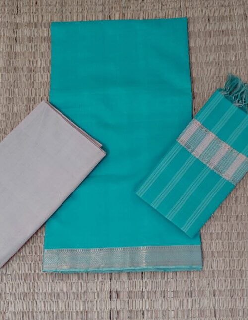 Mangalagiri Cotton Dress Material Skyblue and White mcd-118