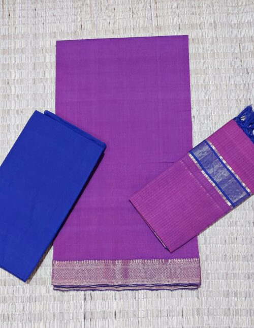 Mangalagiri Cotton Dress Material Violet and Blue mcd-120