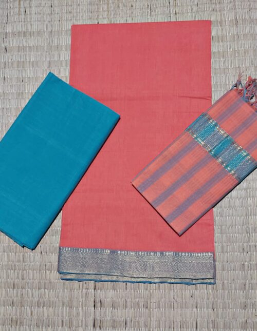 Mangalagiri Cotton Dress Material Pale Red and Blue mcd-141