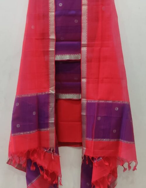 Mangalgiri Silk Dress Material Violet and Red md-305